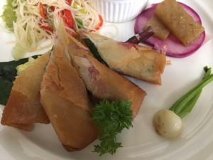 秋刀魚の梅肉春巻き